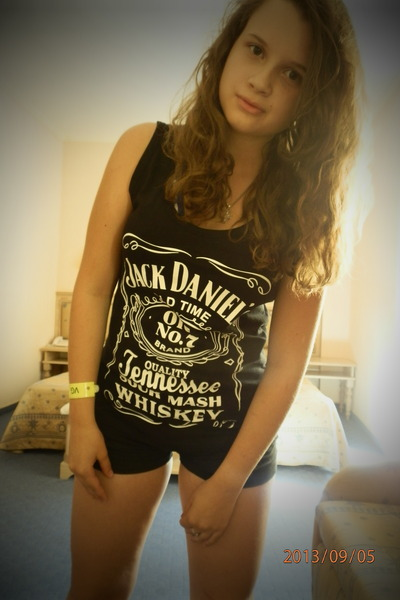 black Jack Daniels blouse - black shorts