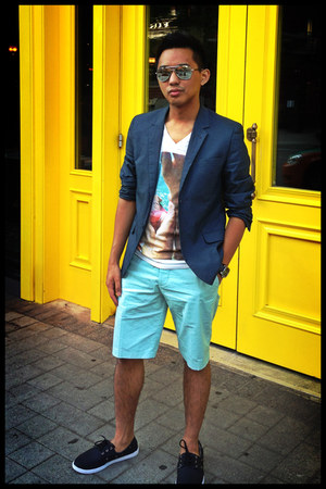 teal cotton H&M blazer - sky blue print H&M shirt - light blue cotton H&M shorts