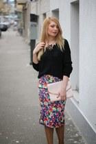 pink H&M purse - black New Yorker sweater - burgundy Zara heels