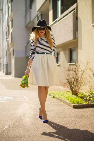 black H&M hat - striped New Yorker blouse - white H&M skirt