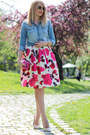 Sky-blue-denim-h-m-shirt-hot-pink-c-a-bag-midi-floral-cndirect-skirt