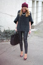 burgundy Zara hat - grey Zara sweater - black Mango bag - burgundy Zara pumps
