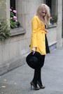 Black-h-ampm-dress-yellow-sheinsidecom-coat-black-h-ampm-hat