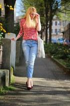 hearts Romwecom shirt - boyfriend Mango jeans - fringed H&M bag