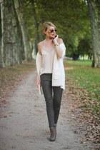 neutral satin lace H&M top - olive green Zara boots - light pink Mango bag