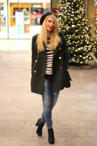 khaki Mango coat - black studded H&M boots - blue Mango jeans - black H&M hat