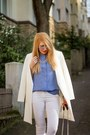 White-zara-coat-black-and-white-h-m-bag-blue-zara-blouse-white-h-m-pants