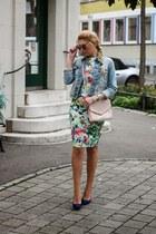 blue Bershka heels - light blue floral print OASAP dress