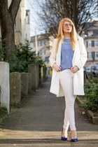 blue Zara blouse - white Zara coat - black and white H&M bag - white H&M pants