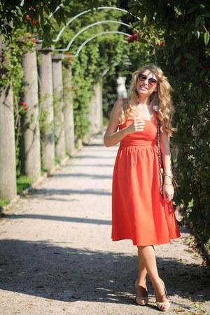 vintage Pimkie dress - snakeskin Mango purse - beige Mango heels