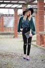 Black-ripped-zara-jeans-black-fedora-h-m-hat-dark-green-plaid-oasap-shirt