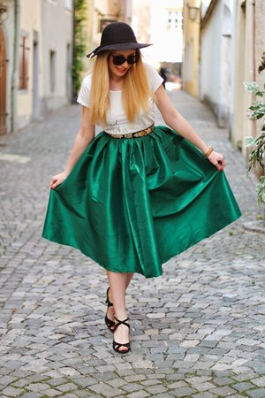 emerald green Choies skirt - black H&M hat - black Zara sandals