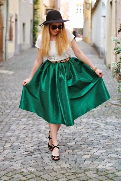 emerald green Choies skirt - black H&M hat - black Zara sandals
