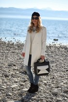 white Zara coat - blue Mango jeans - white Zara sweater