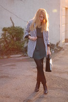 houndstooth Rosewholesale coat - black Zara boots - emerald green H&M dress