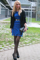 blue Mango dress - black H&M blazer - black H&M purse - black gold Mango belt