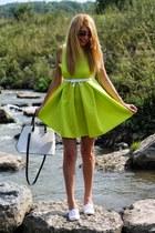 neon OASAP dress - white Zara bag - white H&M sneakers - white New Yorker belt