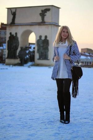 white white sweater - black Zara boots - houndstooth Rosewholesale coat