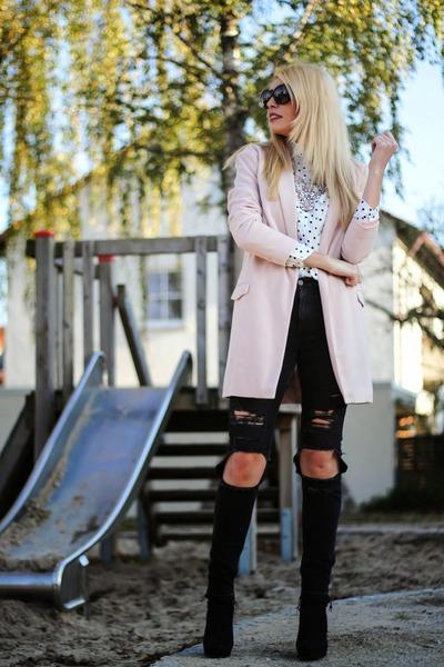 white polka dots OASAP shirt - black H&M boots - light pink Sheinside coat