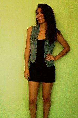 blue denim jacket vest - black lbd DIY dress
