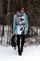 turquoise blue Forever 21 sweater - white H&M shirt - black random brand shoes -