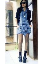 black Zara blazer - blue Zara skirt - black Gucci shoes