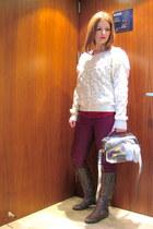 brown python Giuseppe Zanotti boots - ivory random sweater