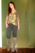 gold warehouse top - tan Christian Louboutin boots - olive green Zara pants