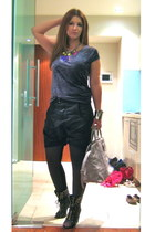 charcoal gray velvet Zara t-shirt - periwinkle granville christian dior bag