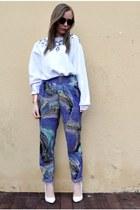 blue asos pants - white next pumps