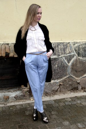 periwinkle vintage pants - black angora vintage cardigan
