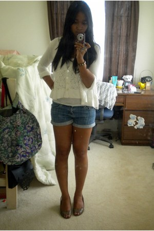 denim shorts Forever 21 shorts - lace detail top Forever 21 top - Macys heels