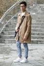 Tan-hooded-mac-topman-coat-blue-stretch-skinny-topman-jeans