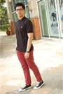 Black-fred-perry-shirt-maroon-topman-pants-black-comme-des-garcons-sneakers