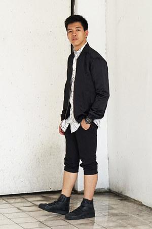 white desigual shirt - black satin pilot H&M jacket