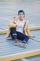 mustard parka Uniqlo coat - blue Zara hat - white cotton Uniqlo shirt