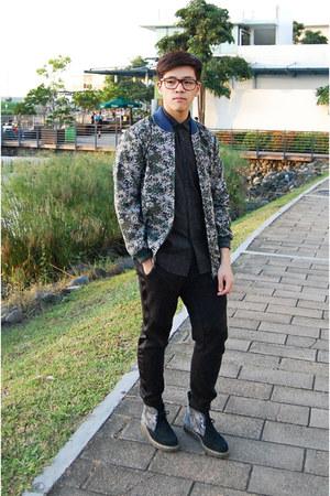 black Springfield shirt - gray Dr Martens boots - army green human jacket