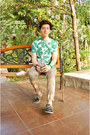 Dark-green-sebago-shoes-green-topman-shirt-tan-topman-pants