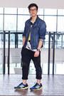 Blue-denim-h-m-jacket-black-joggers-forever-21-pants-white-zara-t-shirt
