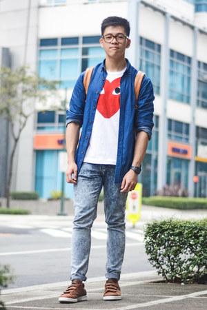 blue skinny Topman jeans - blue denim Springfield shirt