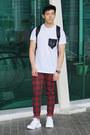 Black-topman-hat-ruby-red-plaid-checked-zara-pants-white-topman-t-shirt