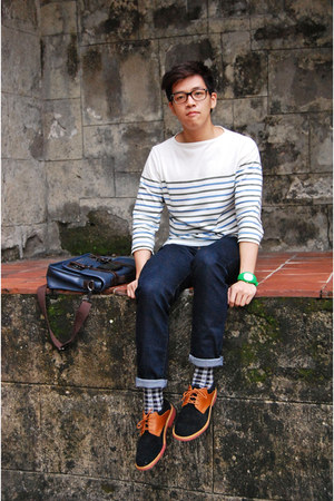 tawny Cole Haan shoes - navy Uniqlo jeans - gray Topman socks