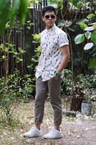 white tropical Bershka shirt - bronze Aldo sunglasses - camel Topman pants