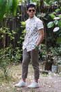 White-tropical-bershka-shirt-bronze-aldo-sunglasses-camel-topman-pants