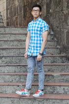 blue acid wash Topman jeans - sky blue gingham Fred Perry shirt
