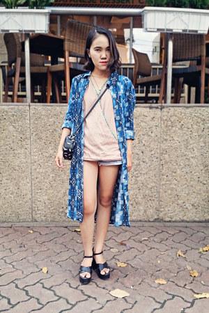 black Aldo bag - blue shirt dress Forever 21 dress - neutral japan style top