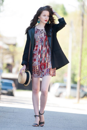 black New Yorker jacket - red Mango dress - black Mango heels