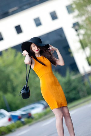 black reserved hat - yellow Zara dress - black Mango bag - black Mango heels