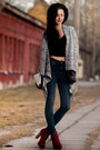 Black-reserved-cardigan-ruby-red-bulboxer-boots-blue-mango-jeans