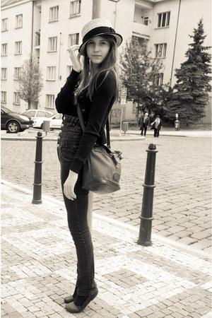 blue AG jeans - camel New Yorker hat - black Zara cardigan - bubble gum Bershka